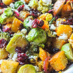 Close up of Fall Panzanella Salad