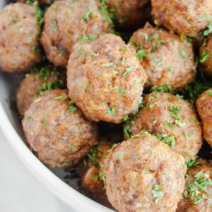 Oven Baked Meatballs on a white plate